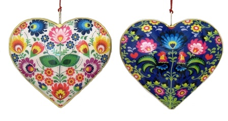 Floral/Rooster Heart Ornament