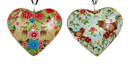 Folk Art Bird Heart Ornament