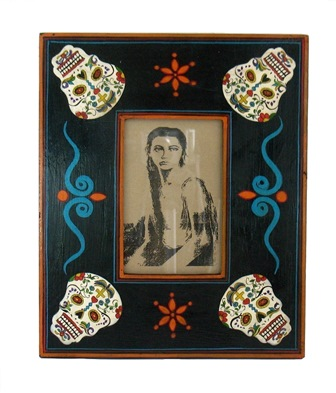 Folk Art Painted Skull Frame