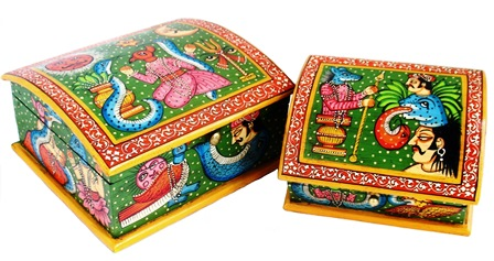 Folk Art Painted Box Set