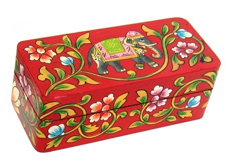 Folk Art Painted Elephant Box