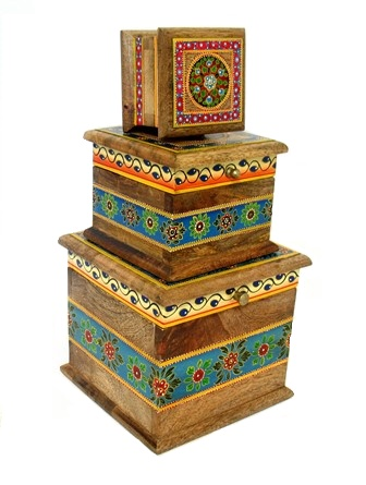 Folk Art Painted 3 pc. Box Set