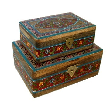 Folk Art Painted 2 pc. Box Set