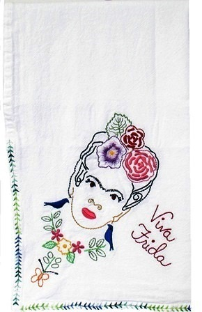 Frida Kahlo Embroidered Tea Towel