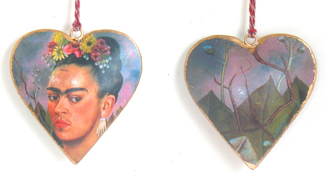 Frida with Flowers Heart Ornament