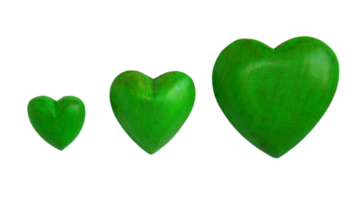 Green Wood Hearts in 3 Sizes