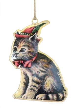 Kitten with Red Hat Ornament