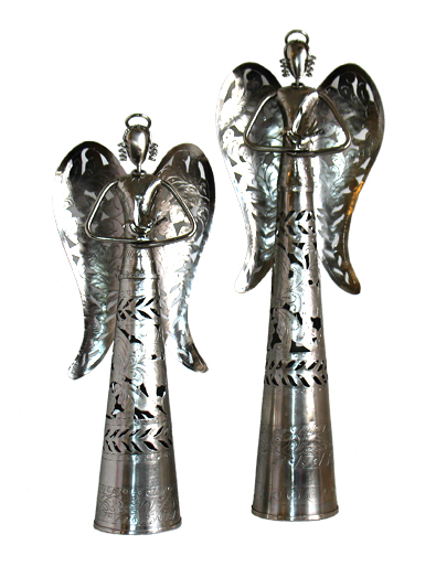 Metal Angels Holding Bird