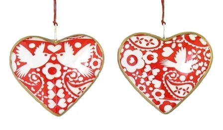 Love Bird Heart Ornament