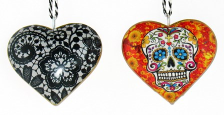 Marigold Skull Heart Ornament