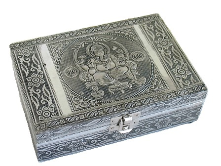 Metal Embossed Box/Mirror-Ganesh