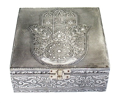 Metal Embossed Box-Hamsa