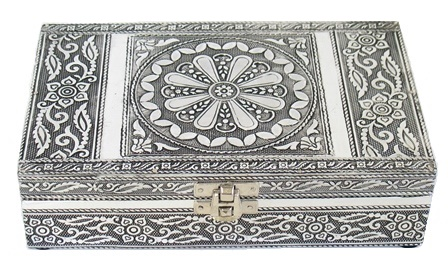 Metal Embossed Box/Mirror-Lotus