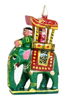 Mini Painted Elephant With Rider