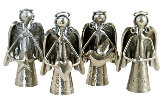 Mini Silver Angel Bells