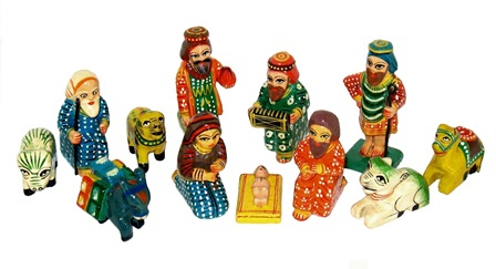 Painted 12 piece Nativity Set