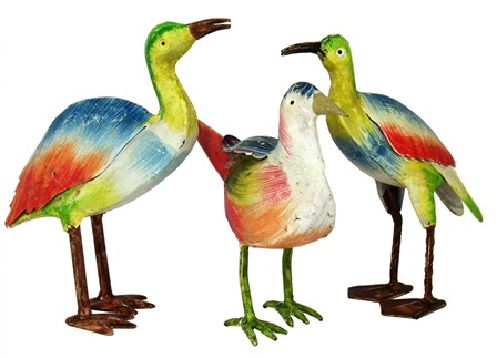 Painted Iron Bird 3 Piece Set