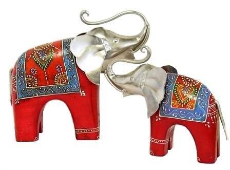 Painted Wood and Metal Elephant