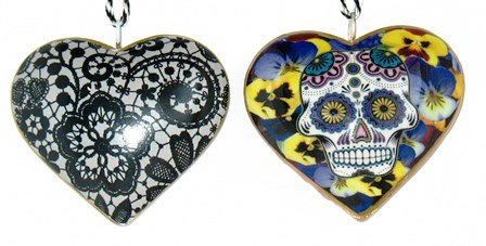 Pansy Skull Heart Ornament