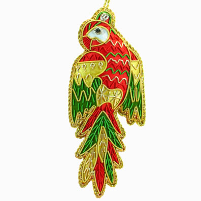 "5""Embroidered Parrot Ornament"