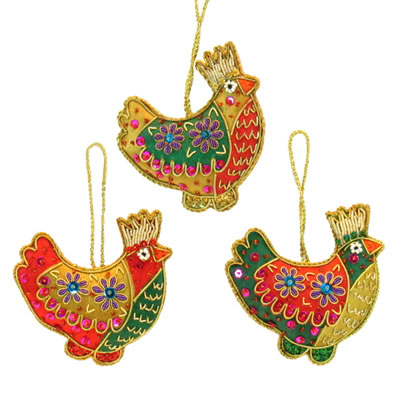 "3"" Embroidered Partridge Ornaments"