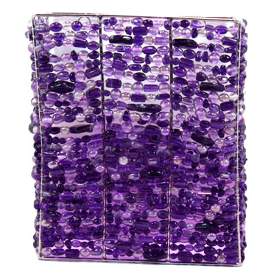 Rectangle Wall Sconce, Purple Glass Beads.