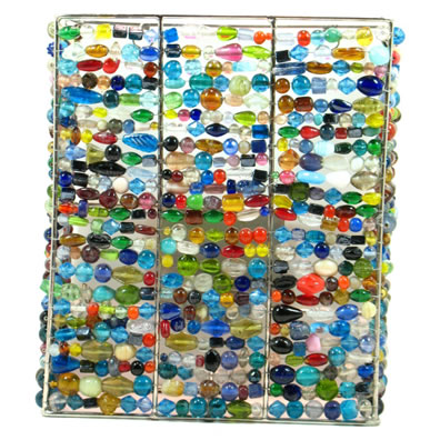 Rectangle Wall Sconce, Multi-color Glass Beads.
