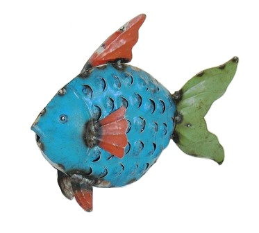 Recycled Metal Blue Fish