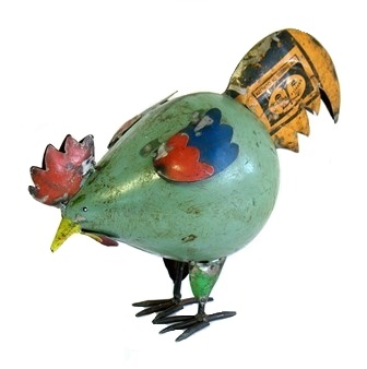 Recycled Metal Pecking Hen