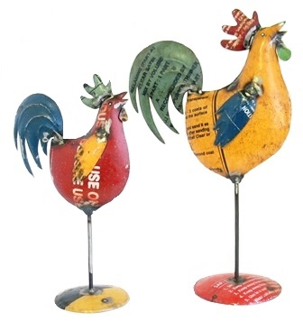 Recycled Rooster On Stand