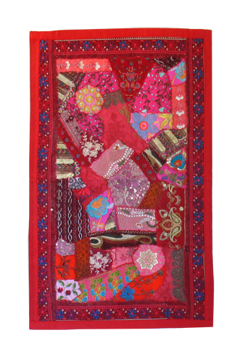 Red Pieced Sari Runner