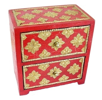 Red 2 Drawer Chest