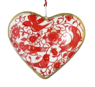 Red Bird/Flower Heart Ornament