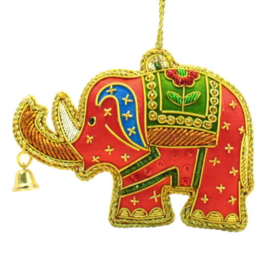 "4"" Red Elephant with Bell Ornament"