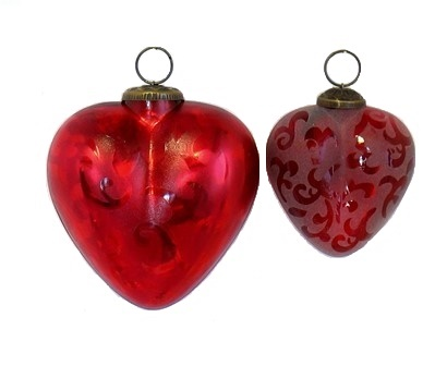 Red Etched Heart Ornament
