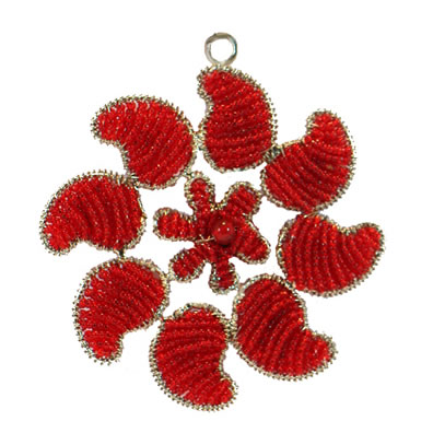 "4"" Red Paisley Ornament"