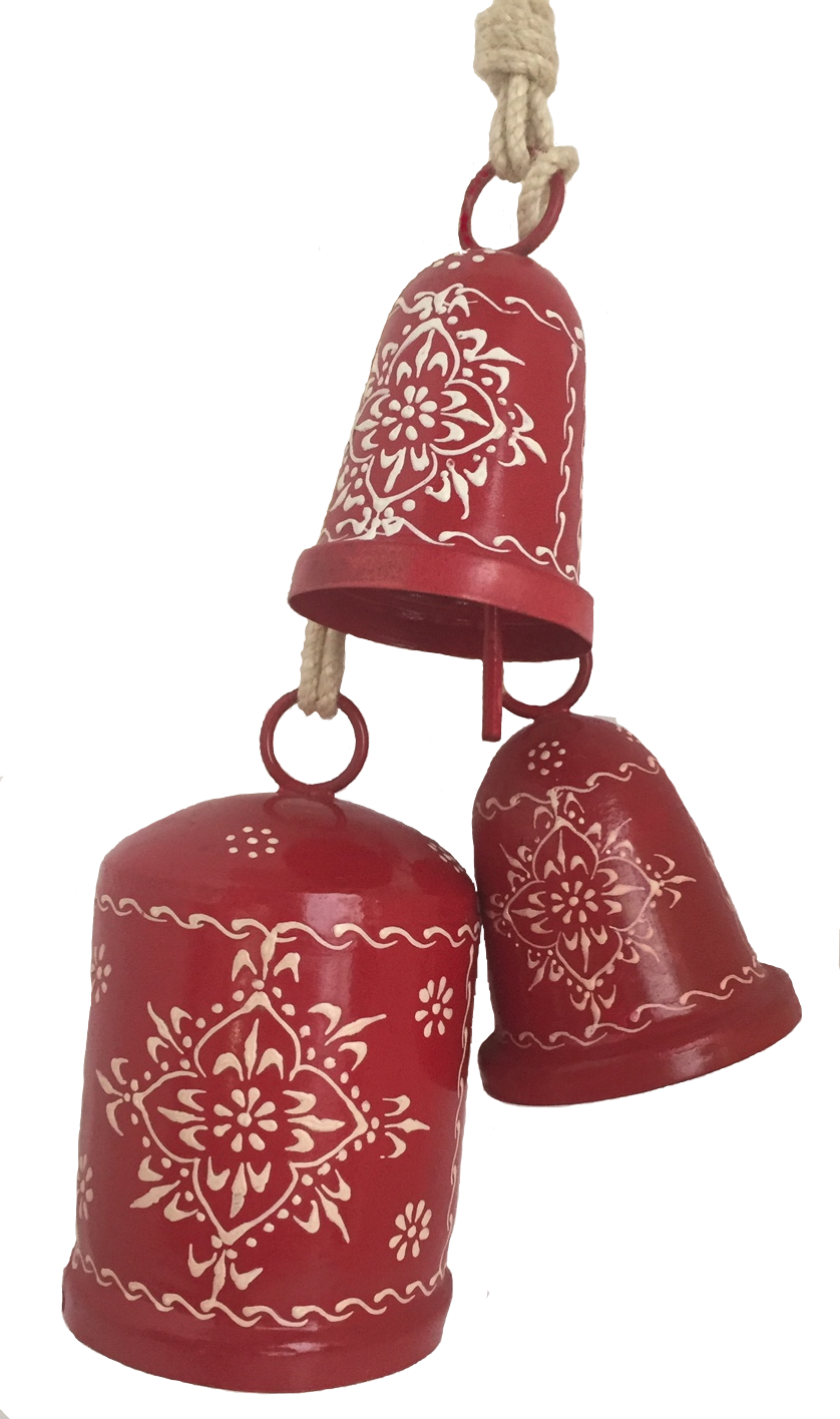 Red Triple Bell on String
