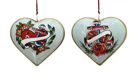Anchor/Flower Heart Ornament