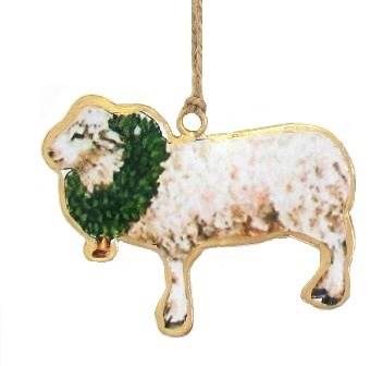 Sheep with Wreath Ornament