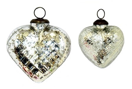 Silver Antique Heart Ornament