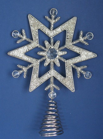 Silver Beaded Star Tree Topper