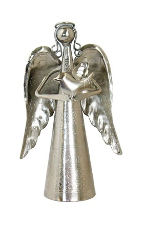 Silver Metal Angel Bell with Bird