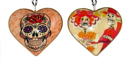 Skeleton Couple Heart Ornament