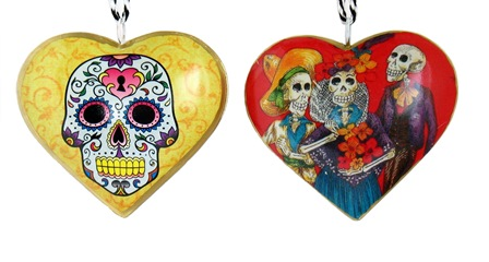 Skeleton Trio Heart Ornament