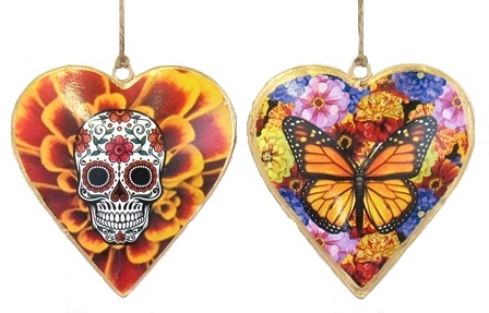 Skull Marigold Butterfly Heart Ornament