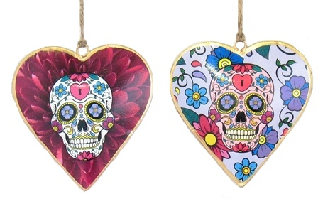 Skull Purple Floral Heart Ornament