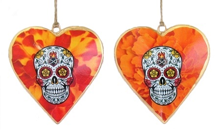 Skull Autumn Floral Heart Ornament