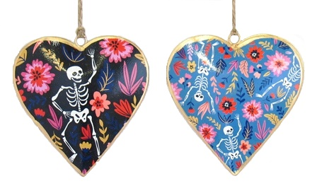 Skull Dancing Floral Heart Ornament