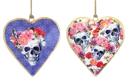 Skull Feather Floral Heart Ornament