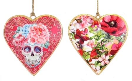 Skull Floral Heart Ornament